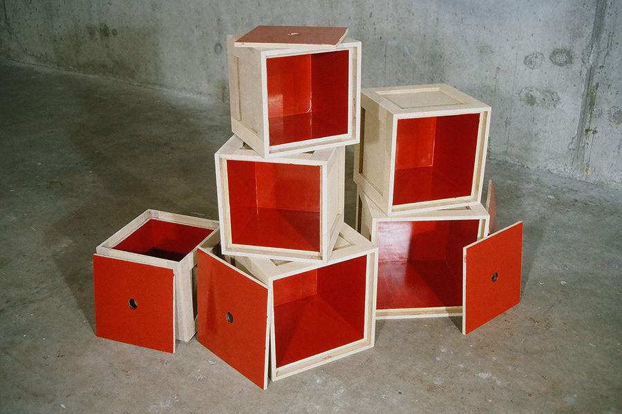 The red boxes of FAITH AND DOUBT, installation by Kennedy Telford.