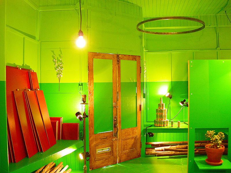 Green room image from SET THE CONTROLS FOR THE HEART OF THE SUN, installation at WRKS DVSN, by Kennedy Telford, 2006.